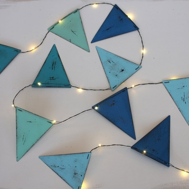 Blue Bunting Style Metal Triangles Indoor Outdoor Led String Lights Lit