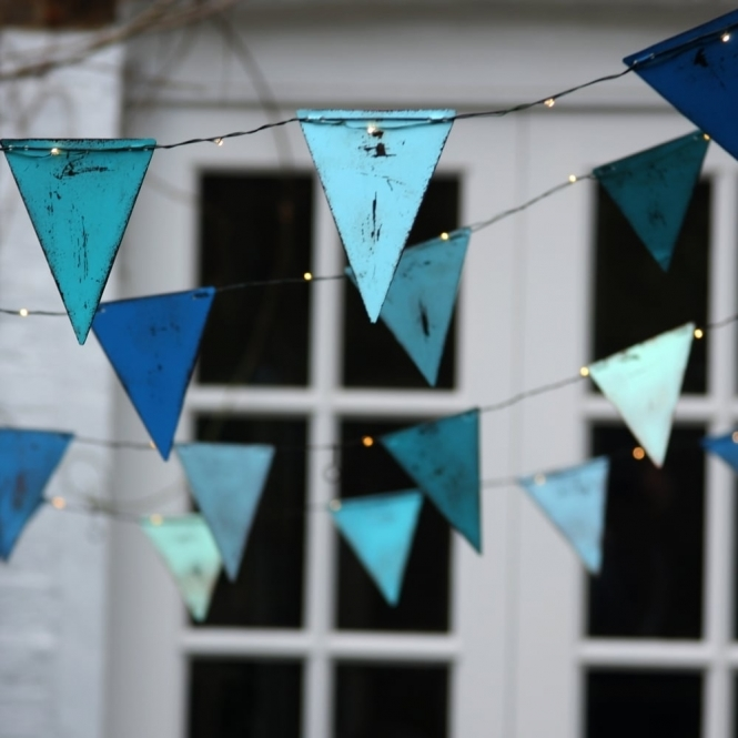 Blue Bunting Style Metal Triangles Indoor Outdoor Led String Lights In Front Of Door