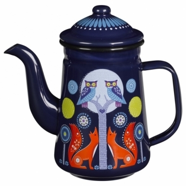 Blue Enamel Tea / Coffee Pot