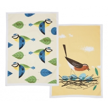 Blue Tit & Robin Tea Towels - Set of 2