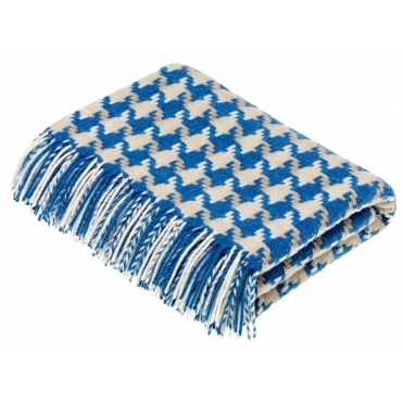 Merino Lambswool Houndstooth Throw Blanket - Aqua & Camel