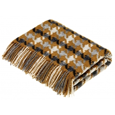Merino Lambswool Houndstooth Throw Blanket - Gold & Grey