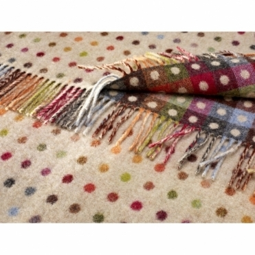 Merino Lambswool Multi Spot Check Throw Beige Blanket