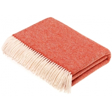 Merino Lambswool Parquet Throw Blanket - Coral