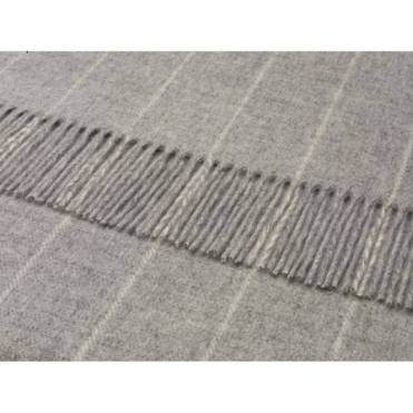 Merino Lambswool Pinstripe Throw Grey Blanket