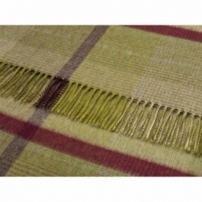 Merino Lambswool Pistachio Patchwork Throw Blanket