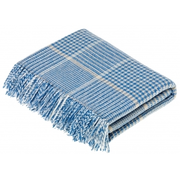 Merino Lambswool Prince of Wales Throw Blanket - Aqua & Camel