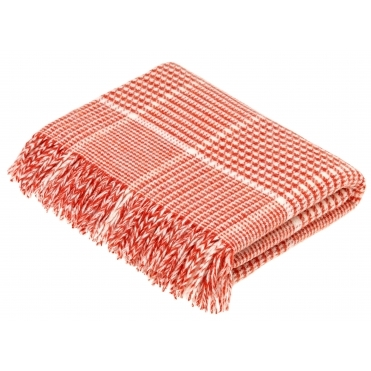 Merino Lambswool Prince of Wales Throw Blanket - Coral