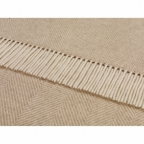 Merino Lambswool Variegated Herringbone Throw Beige Blanket