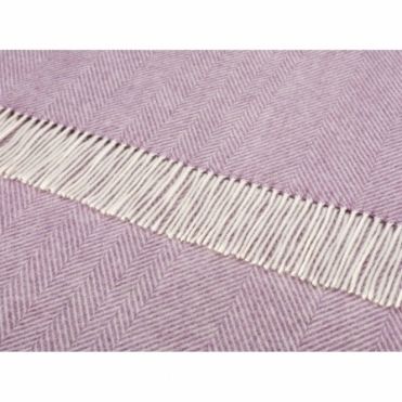 Merino Lambswool Variegated Herringbone Throw Lilac Blanket
