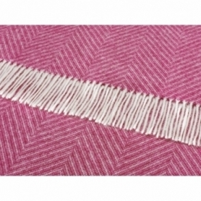 Shetland Wool Herringbone Cerise Pink Throw Blanket