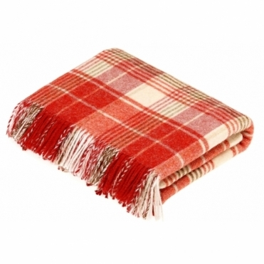 Shetland Wool Huntingtower Terracotta Throw Blanket