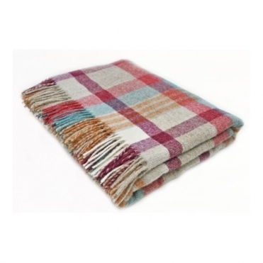 Shetland Wool Melbourne Brick/Aqua Throw Blanket