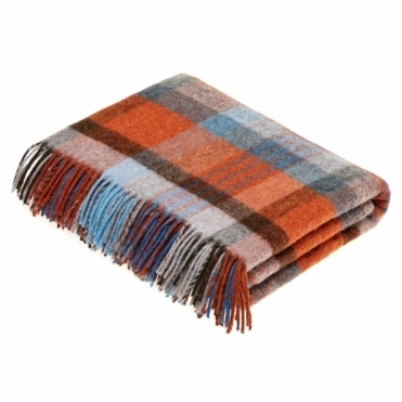 Shetland Wool Melbourne Orange/Turquoise Throw Blanket