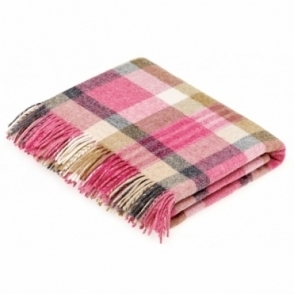Shetland Wool Melbourne Pink/Natural Throw Blanket