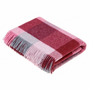 Shetland Wool Rome Pink/Aqua Throw Blanket