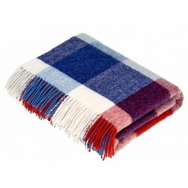 Shetland Wool Rome Red/Blue Throw Blanket