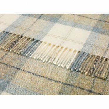 Shetland Wool Skye Check Aqua Throw Blanket