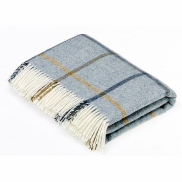 Shetland Wool Windowpane Aqua Throw Blanket
