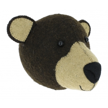 Brown Bear Felt Animal Wall Head - Mini
