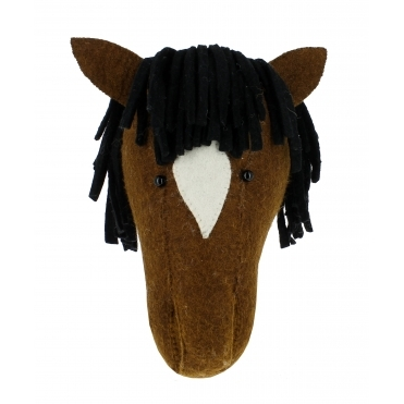 Brown Horse Felt Pony Animal Head Wall Mounted