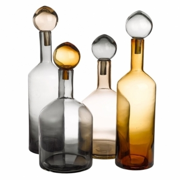 Bubbles & Bottles Chic Mix Set of 4 Glass Bottles