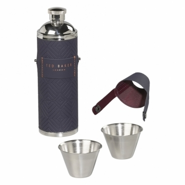 Cadet Blue Geo Hip Flask & Shot Cups
