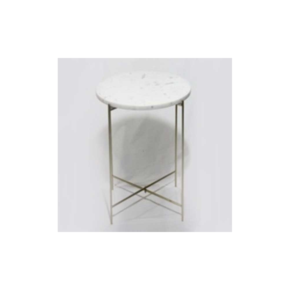Casa Marble Side Table White Gold