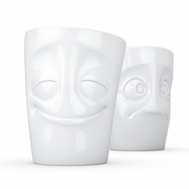 Cheery & Baffled Face Porcelain Mugs - Set of 2
