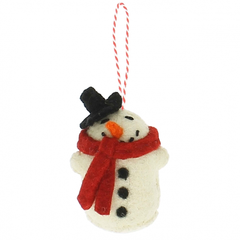 Christmas Snowman With Red Scarf Hanging Felt Ornament/Decoration