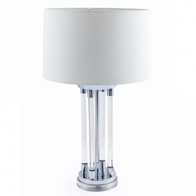Chrome & Glass Tubes Deco Table Lamp with Shade
