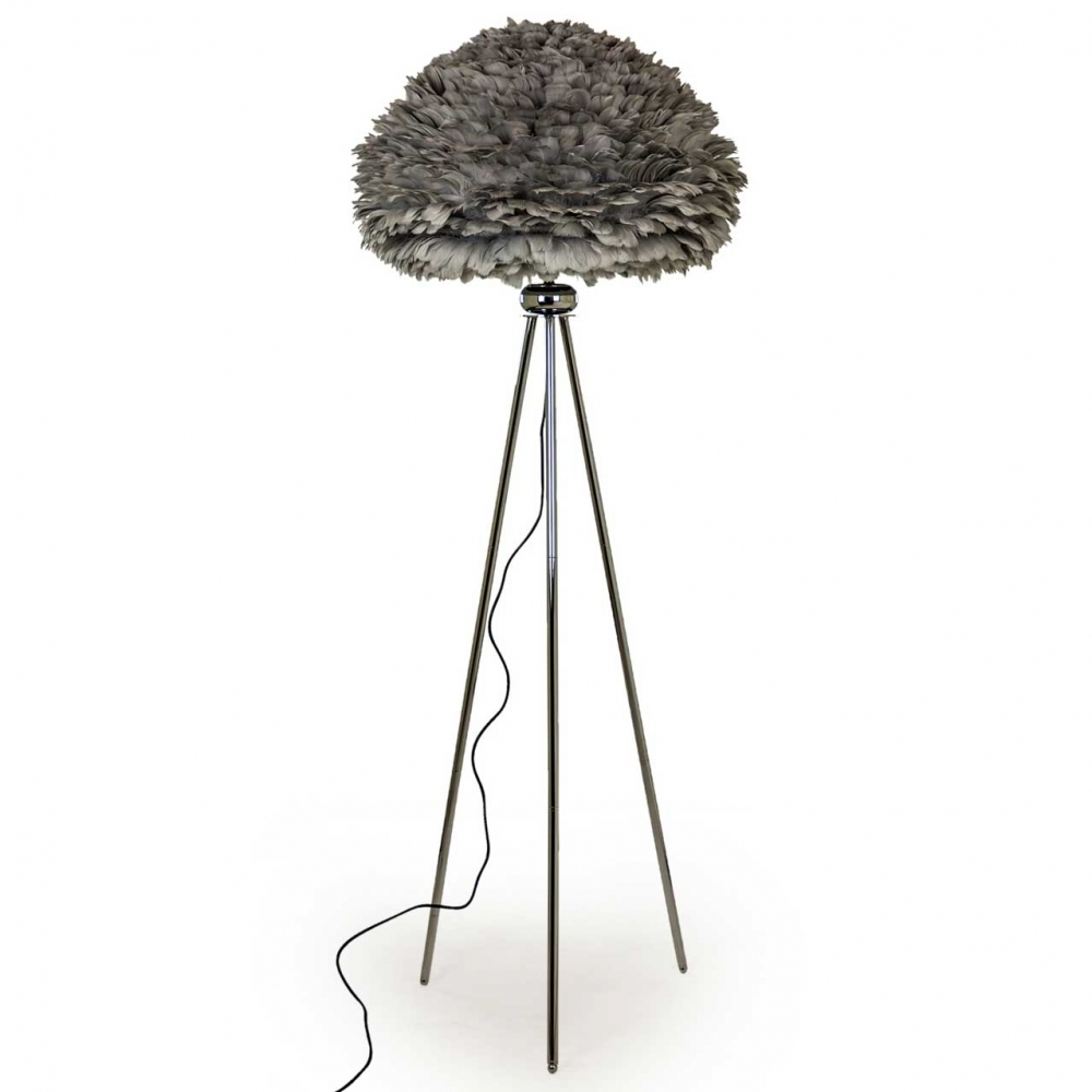 Chrome Tripod Floor Lamp With Goose Feather Shade Grey Hurn Amp Hurn