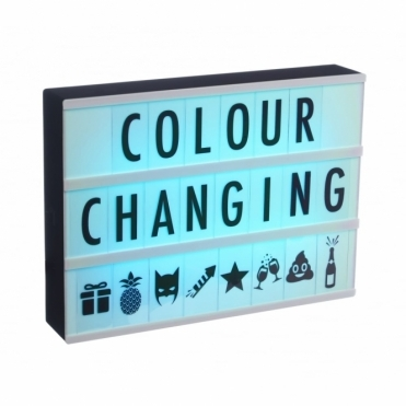 Cinema Light Box A4 Colour Changing - 120 Letters, Numbers, Symbols - Battery & USB + Free Letter Pack