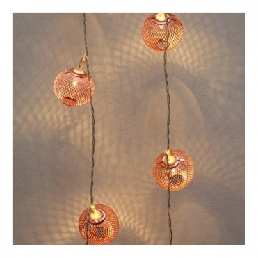 Copper Lanterns LED Chain String Fairy Lights - Mains Powered