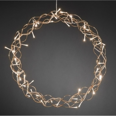 Copper Metal Christmas Wreath 45cm Warm White LED's