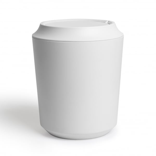 Umbra corsa bathroom waste bin with lid white hurn and hurn Lidded trash can for bathroom