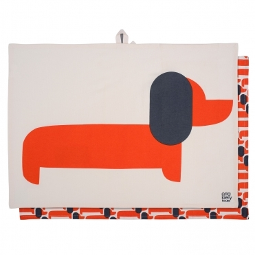 Orla Kiely Dachshund Wooden Serving Board Persimmon