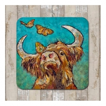 Buttercoo Coaster - Highland Cow & Butterflies