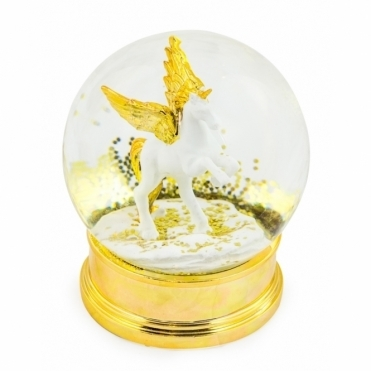 Decorative Unicorn Snow Globe - Gold