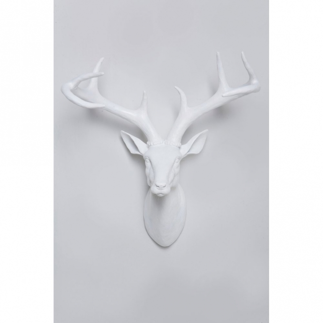 Deer Stag Deco Head Wall Art White