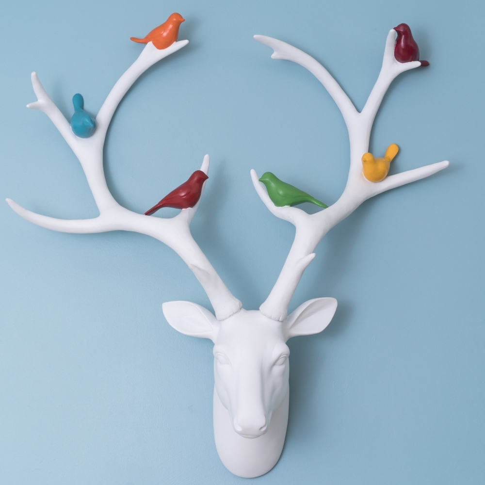 Deer Stag Head With Multicolour Birds Wall Decor White