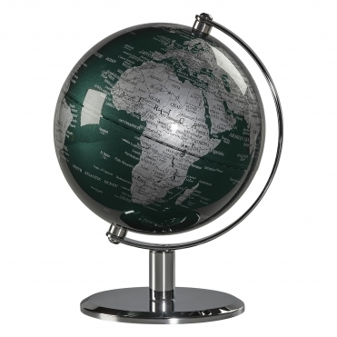 Desk Globe - Fir Green & Chrome