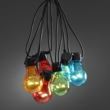 LED Festoon Lights Set 10 Multi Coloured E27 Bulbs