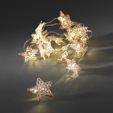 20 Copper Metal Star Fairy String Lights