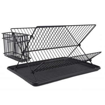 Dish Rack Drainer with Tray - Black