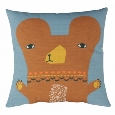 Bear Orange Cushion - Reverse Duck Egg