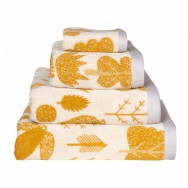 Bird & Tree Towels - Mustard