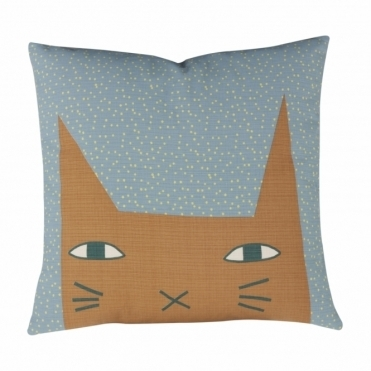 Cat Ears Duck Egg Cushion - Reverse Mustard Yellow