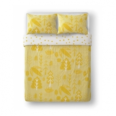 Flying Bird Yellow Reversible Bed Set - Double