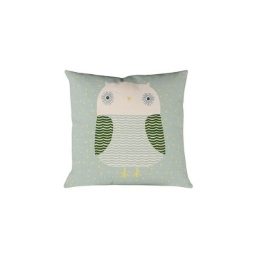 Owl Duck Egg Cushion - Reverse Design Yellow Spots